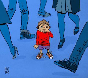 Ilustración de un niño que se ha perdido