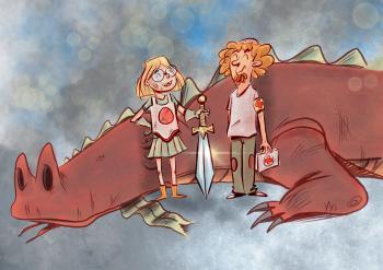"""Ilustración del cuento: """"Jordina, Jordi y el Dragón"""""""