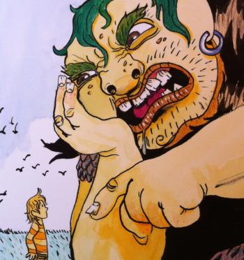 Ilustración de un niño frente a un gigante