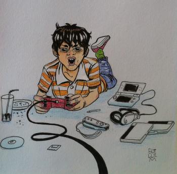 Ilustración del cuento de Videojuegos, Whatsapp y el corazón que me plantó