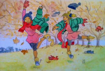 Il·lustració d'unes nenes abrigades jugant a un parc