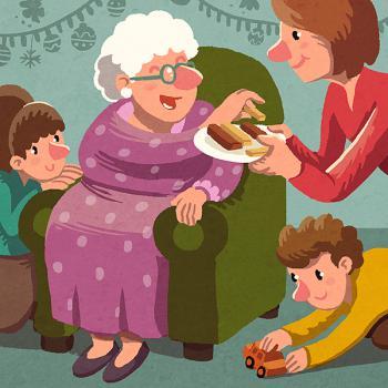 Il·lustració d'una família celebrant el Nadal