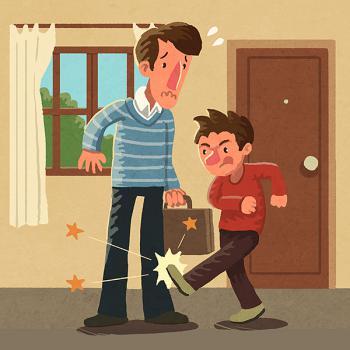 Ilustración de un niño dando una patada a su padre