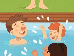 Nens nadant a la piscina