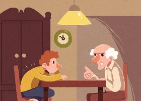 Ilustración de un abuelo con su nieto