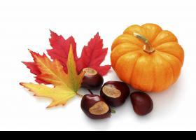 Castañas, calabaza y hojas típicas de otoño