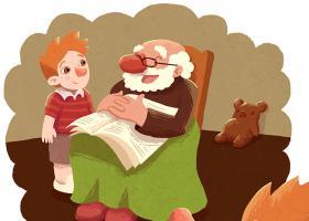 Ilustración de un niño recordando a su abuelo