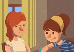 """Il·lustració del conte """"La Martina no vol fer els deures"""""""