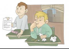 """Il·lustració del conte: """"El millor de la classe"""""""