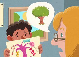Ilustración de un niño mostrando un dibujo a la maestra