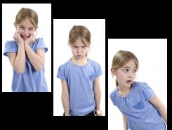 Niña mostrando distintas emociones