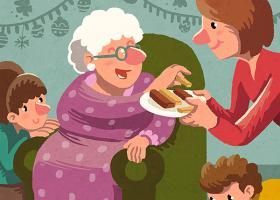 Ilustración de una familia celebrando la Navidad