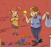 Ilustración del cuento: ¡Vigila, que explotan!