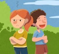 """Ilustración del cuento """"Marina Mandarina… ¡todo el día está que trina!"""""""